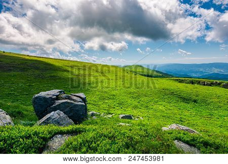 Grassy Slopes With Huge Rocks. Beautiful Mountainous Landscape In Summertime. Location Mountain Runa