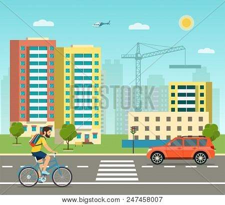 City Life Set With Road, Buildings And Crosswalk. City Street Panoramic. Vector Flat Style Illustrat