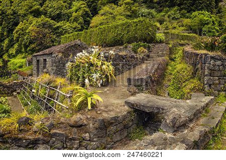 Old villages farmhouse, Faial da Terra, Sao Miguel, Acores poster