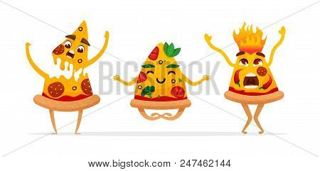 Funny Cartoon Pizza Characters.  Vegan. Hot.  Pizza Slice. Fast Food Characters. Vector Illustration