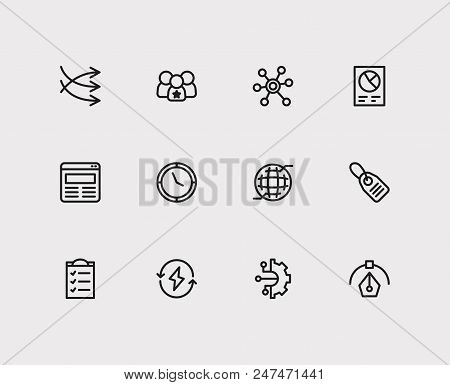 Economy Icons Set. Price Tag And Economy Icons With Business Data, Business Technology And Social Me