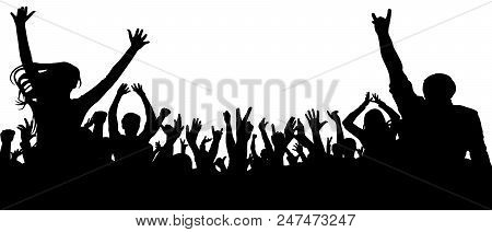 Applause Of The Crowd Of People Silhouette Vector. Crowd With Lots Of People Cheering And Excited. C