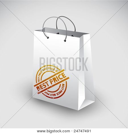 White shopping bag icon with best price stamp