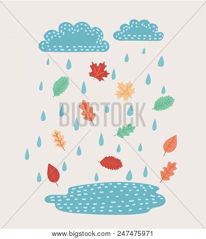 Vector Cartoon Illustration Of Cloud, Rain And Leaves. Cute Falling Raindrops. Isolated Object On Wh