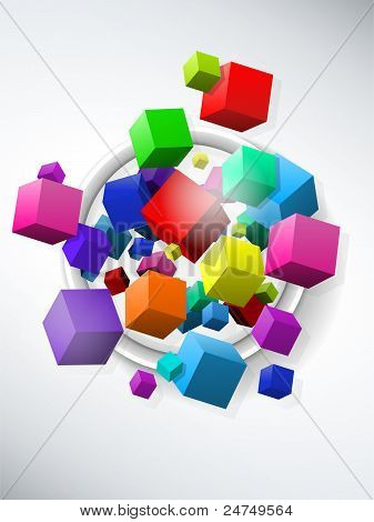 Vector - Colorful Flying Cubes on White Background poster