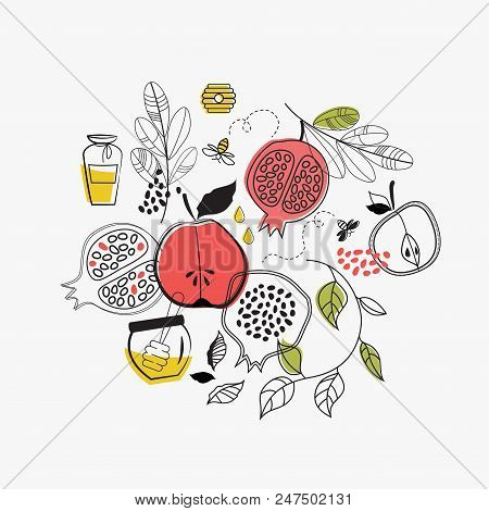 Greeting Card With Symbols Of Jewish Holiday Rosh Hashana , New Year. Vector Illustration Template D