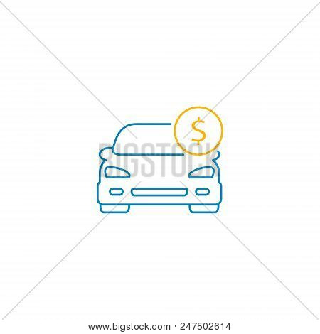 Car With Coin Icon Vector. Buying Car Web Button In Flat Style. Save Money For Buying Car Illustrati