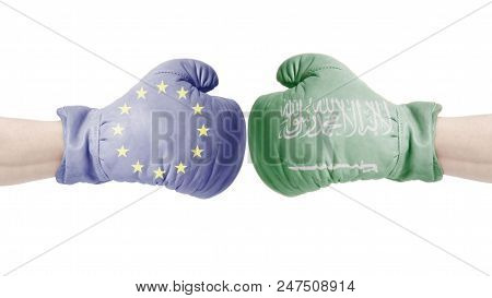 Boxing Gloves With European Union And Saudi Arabia Flags.kingdom Of Saudi Arabia Vs European Union C