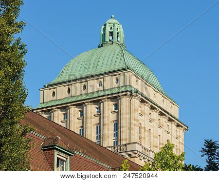 Zurich, Switzerland - June 30, 2018: Tower Of The Main Building Of The University Of Zurich. The Uni