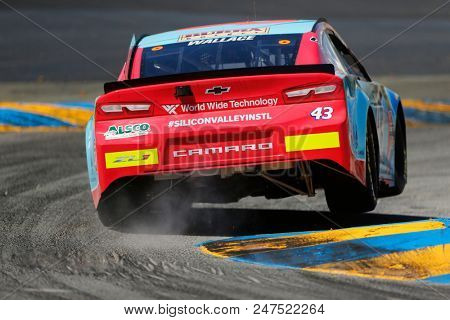 June 22, 2018 - Sonoma, California , USA: Darrell Wallace, Jr (43) practices for the TOYOTA/SAVE MART 350 at Sonoma Raceway in Sonoma, California .