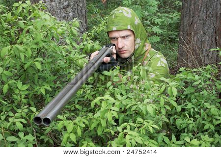 Angry Hunter With An Old Gun