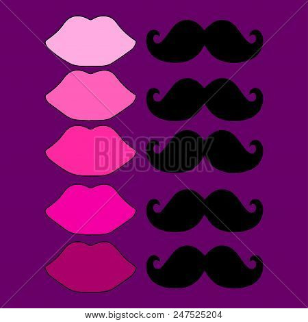 Female And Male Attributes. Different Female Lips And Identical Male Moustaches. The  Illustration S