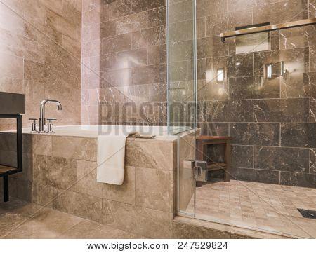 Modern Marble Tiled Bathroom