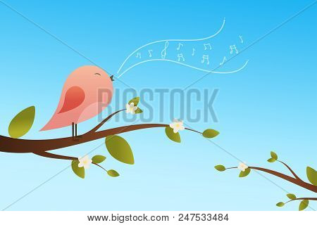 Spring Bird On Tree Singing Song From The Musical Notes. Pink Bird Cartoon Character.singing Bird On
