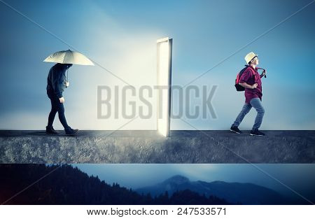 Sad And Depressive Boy Holding An Umbrella Going Through A Portal , Coming Out Happy And Positive. T