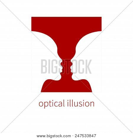 Optical Illusion Vase And Two Profiles, Negative And Positive Space, Visual Deception, Perception. V