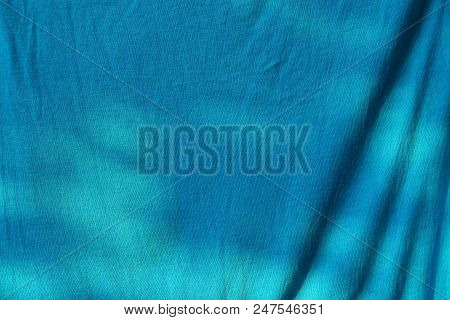 Blue Cloth Texture From A Piece Of Crumpled Cloth On Clothes