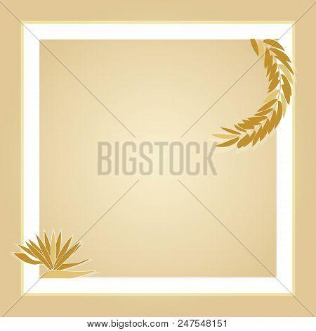 Light Brown Leaves Square Photo Frame, Stock Vector
