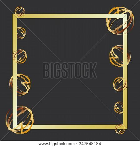 Create Gold Ball Abstract Photo Frame, Stock Vector