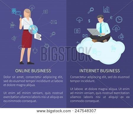 Online Business And Internet Business Online Service, Businessman And Businesswoman Icons Collection