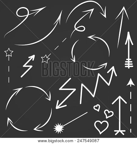 Doodle Arrows Set. Vector Hand Drawn By Pen Arrows Elements For Your Design. Sketch Arrows Isolated.