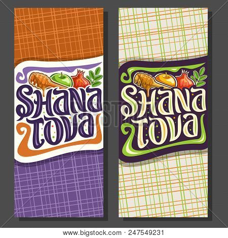 Vector Vertical Banners For Jewish Holiday Rosh Hashanah, Autumn Honey Flowing From Wooden Stick, Tr
