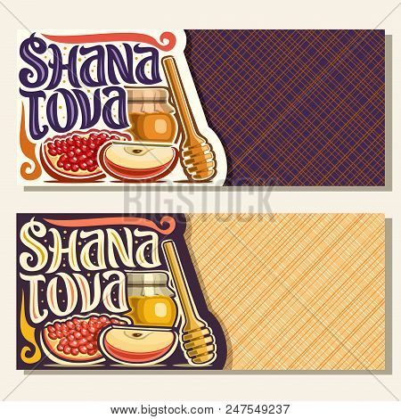 Vector Banners For Jewish Holiday Rosh Hashanah With Copyspace, Autumn Honey In Pot, Wooden Stick, T