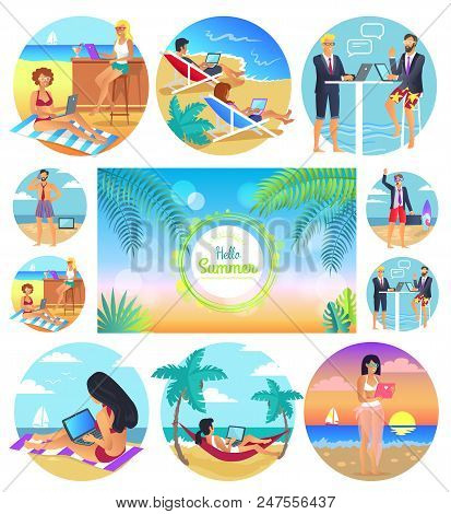 Hello Summer 2017, Poster Set, Headline And Palms In Centerpiece, People Working By Sea At Beach Usi