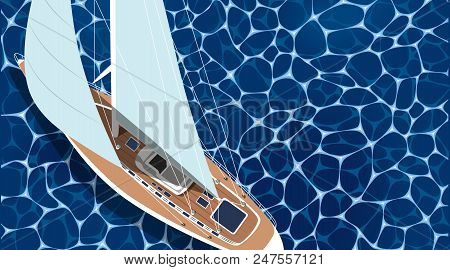Sailing Ship Horizontal Banner With Empty Space. Top View Sail Boat On Deep Blue Sea Water. Luxury Y