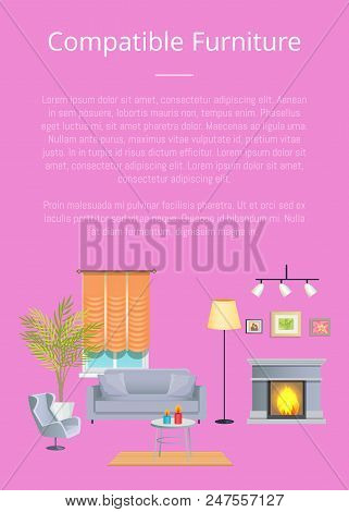 compatible furniture.  Compatible Compatible Furniture Poster With Headline And Text Sample Sofa Table  Cup Candles Inside