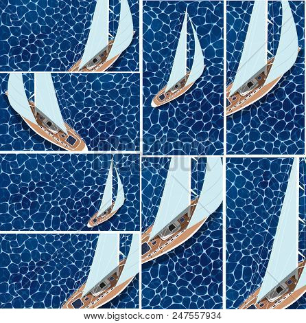Yachting Club Banners Set. Top View Sail Boat On Deep Blue Sea Water. Luxury Yacht Race, Sea Sailing