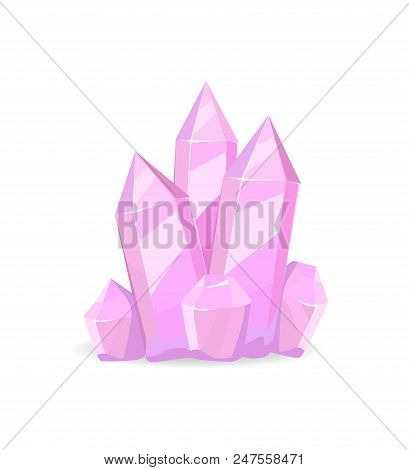 Pink Crystals Precious Stones, Realistic Minerals Isolated On White Background, Transparent Crystals