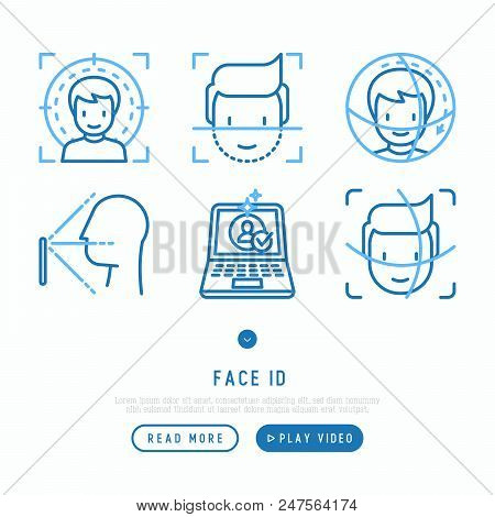 Face ID thin line icons set: face recognition, scanning, mobile authentication, approved, disapproved, face detect. Modern vector illustration. poster