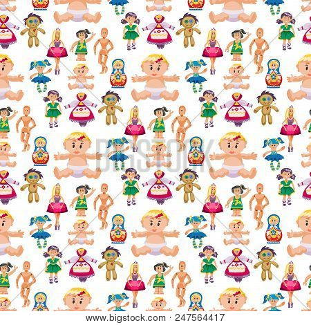 Different Dolls Toy Character Game Dress And Farm Scarecrow Rag-doll Vector Illustration. Pretty Und
