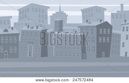 Cartoon Cityscape. Old City Skyline Vector Background. Urban City Tower Skyline Illustration