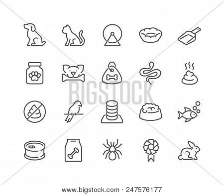 Simple Set Of Pet Related Vector Line Icons. Contains Such Icons As Dog, Cat, Bird, Spider, Animal F