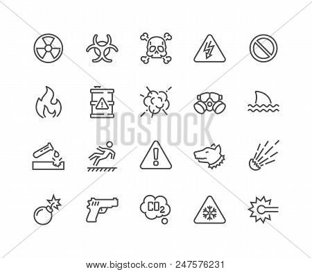 Simple Set Of Warnings Related Vector Line Icons. Contains Such Icons As Toxic, Explosive, Flammable