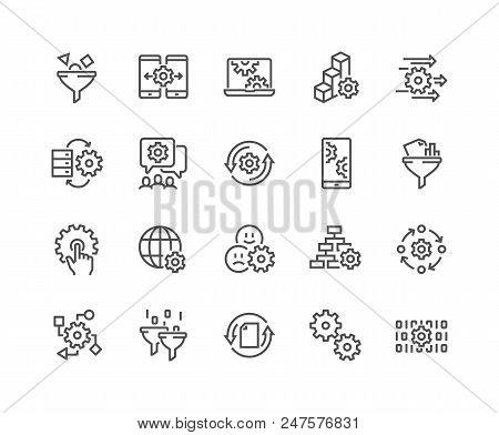 Simple Set Of Data Processing Related Vector Line Icons. Contains Such Icons As Filter, Gear, Scheme