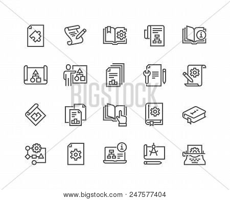 Simple Set Of Technical Documentation Related Vector Line Icons. Contains Such Icons As Plan, Bluepr
