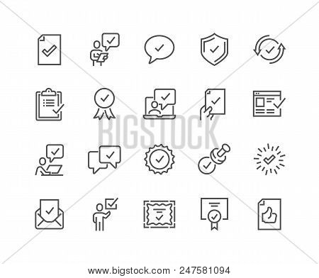 Simple Set Of Approve Related Vector Line Icons. Contains Such Icons As Inspector, Stamp, Check List
