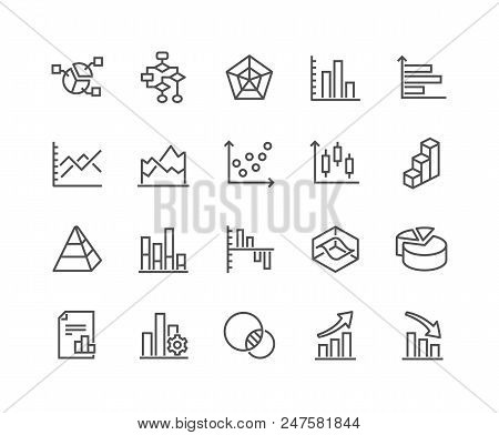 Simple Set Of Charts And Diagrams Related Vector Line Icons. Contains Such Icons As Dot Plot, 3d Cha