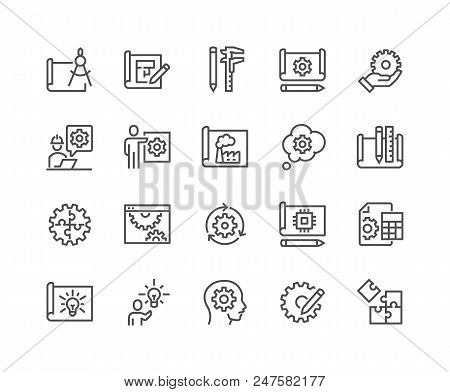 Simple Set Of Engineering Design Related Vector Line Icons. Contains Such Icons As Blueprint, Idea,