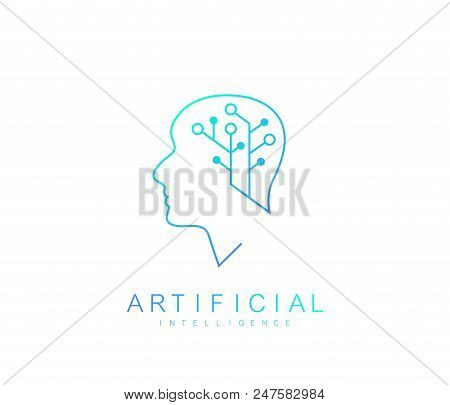 Vector Template Artificial Intelligence Logo. Artificial Intelligence Icon, Logotype, Symbol. Artifi