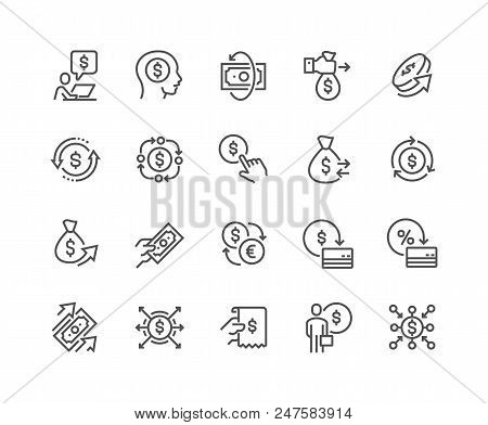 Simple Set Of Money Movement Related Vector Line Icons. Contains Such Icons As Investment, Send Mone