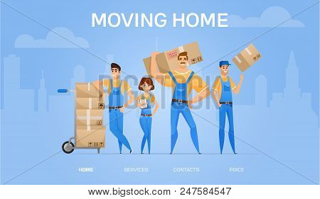 Moving Home Banner. Cartoon Loaders Movers Team With Cardboard Boxes. Moving And Delivery Company Co