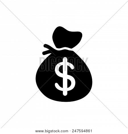 Dollars Bag Vector Icon Flat Style Illustration For Web, Mobile, Logo, Application And Graphic Desig
