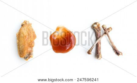 Fried Chicken Wings And Chicken Bone Isolated On White Background