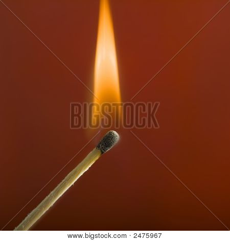 Close Up Of Match And Flame
