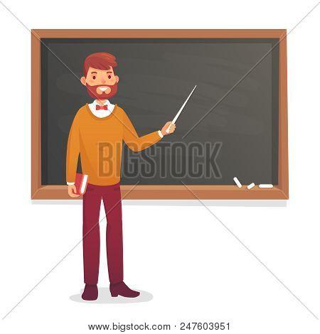 Chalkboard And Male Professor. College Class Or University Teacher Teach At Old Blackboard In Classr