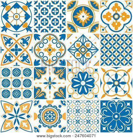 Mediterranean Pattern. Decorative Lisboa Seamless Patterns Arabesque. Ornamental Elements Azulejo Fo